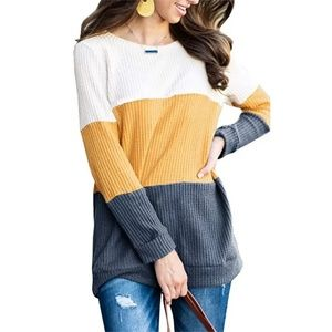 5 ⭐ yellow & blue color block waffle knit sweater
